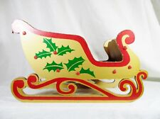"Vintage Yuletide Expanding Folding Wooden Sled Gold Green Red 9½"" X 4½"" X 6"""