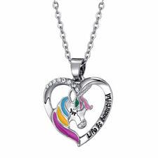 CHILDREN's kids girls Jewellery UNICORN Necklace HEART & Sterling Silver Chain