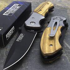 "8"" Spring Open Assisted Tactical Wood Handle Folding Pocket Knife Edc Blade"