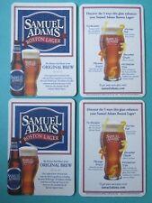 "4 SAMUEL ADAMS BREWING Company ""Boston Lager"" BEER COASTERS ~ Turbulator Glass"