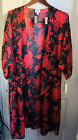 NWT LuLaRoe L Red Black Hawaiian Flowers Shirley Kimono Coverup Overlay Chloe M