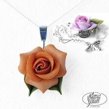 Golden Melocotón Rosa Collar De Plata Cadena Boda Nupcial Flor Stg Floral 251