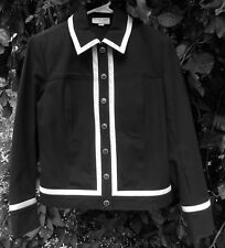 ST. JOHN SPORT BY MARIE GRAY NAVY JACKET WITH WHITE TRIM SIGNATURE FRONT TRIM