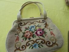 Abend Handtasche Gobelin Stickerei Blumen  Tasche 60er