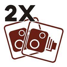 2X Car CCTV Camera Icon Burgundy Red Car Van Taxi Window Bumper Sticker Dash Cam