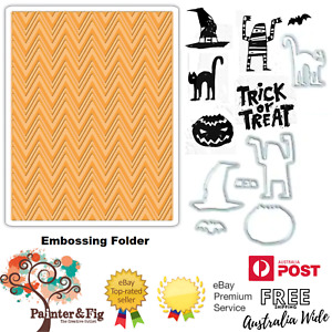Tim Holtz Halloween Stamps, Dies with Zig Zag Embossing Folder, Trick or Treat