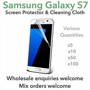 Samsung Galaxy S7 screen protectors and cleaning cloth wholesale job lot