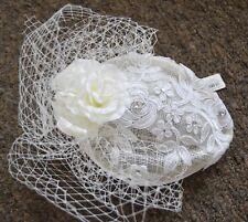 NEW Cream white bridal wedding sinamay pillbox cap flowers diamante fascinator