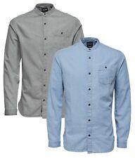 ONLY & SONS Mens New Try Longline Grandad Collar Long Sleeve Fashion Denim Shirt