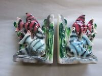 Vintage Japanese Pair 1950's Pottery Blue & Pink Fish Bookends Retro Kitsch Art