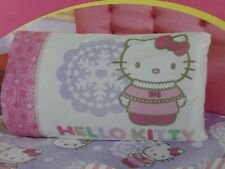 2 pc Hello Kitty Snow Kitty Micro Mink Twin Fitted & Pillowcase Set NIP