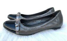 Women's Via Spiga Metallic/Black Leather Cap Toe Ballet Flats Sz 7.5M