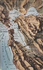San Francisco CA * Map Post Card  1917 * Surrounding Areas   San Jose CV Co.
