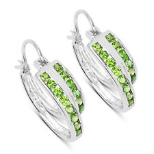 1.68ct Genuine Round Chrome Diopside GEMSTONE .925 Sterling Silver Hoop Earrings