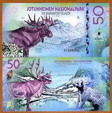 Norway, Jotunheimen National Park, 50 Kroner, Polymer, 2018 - Elk, Wolverine