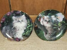 Lot of 2 Franklin Mint Cats Kittens Collector Plates; Purrfection, Out on a Limb