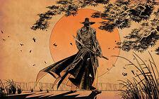 Impression encadrée-Style Western Samurai marche au soleil levant (Photo Poster art)