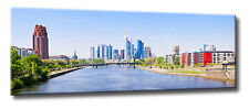 Leinwand Bild Frankfurt Skyline Panorama bei Tag Ufer Rhein Main Wasser City XXL