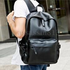 Men Women Vintage Leather Backpack Rucksack Laptop Satchel School Bag Black HOT