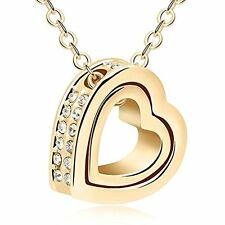 Jewelry For Women 18K Gold Plated Double Heart Necklace Pendant With Swarovski