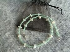 Green Aventurine and Moonstone Necklace - Precious Gemstone and Silver plated