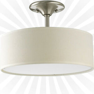 Progress Lighting 2-Light Brushed Nickel Semi-Flush Mount Light - NEW