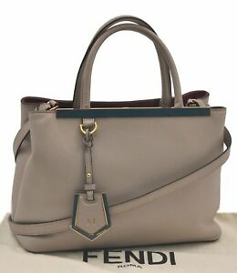 Authentic FENDI 2JOURS Leather 2Way Shoulder Hand Bag Gray C4002
