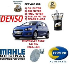 FOR CHEVROLET AVEO 1.2 2008->ON OIL AIR FUEL POLLEN FILTER + SPARK PLUGS SERVICE