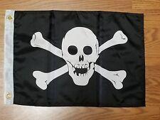 12x18 Skull Crossbones Boat Flag Pirate Grommets Banner Fast Usa Shipping