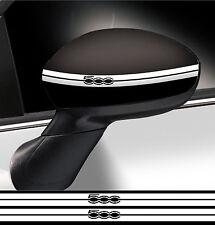 2 X BANDES RETROVISEUR FIAT 500 BLANC 35cmX1,2cm AUTOCOLLANT STICKER FA123