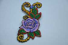 PURPLE ROSE FLOWER 3' 8cm SEW IRON ON  PATCH BADGE EMBROIDERY APPLIQUE
