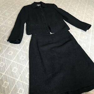 Ann Taylor Suit 2 Pc Set Black Jacket Skirt Wool Suit Bead Sequin Detail Sz 4P