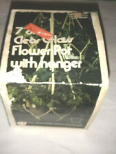 "JEANNETTE GLASS 7"" CLEAR GLASS FLOWER POT W FABRIC HANGER NEW IN BOX 1956-1970"