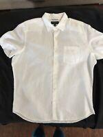 Banana Republic Mens XL Slim Fit Short Sleeve Button Down Linen White Shirt