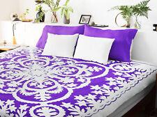 Purple & White - Hawaiian design QUILT TOP - All Hand Applique ! - Queen