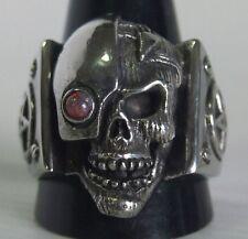 Stainless Mecha Steampunk Borg Skull Ring Red Opal Custom Size Star Trek R-18ss