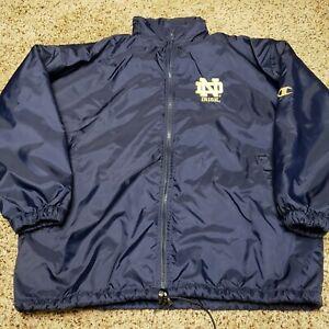Champion Vintage Notre Dame Full-Zip Jacket Coat Fleece-Lined Size Large