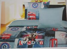 * LONDON * WENDE SATIN BETTWÄSCHE MAKO  GEWEBE, BUS BIG BEN, 2 TLG. 135x200, NEU
