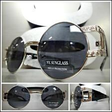 Men CLASSIC RETRO HIP HOP Style SUN GLASSES Round Silver & Black Frame Dark Lens
