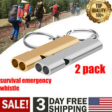 2 PCS Survival SOS Whistle Aluminum Camping Hiking Keychain Outdoor Emergency