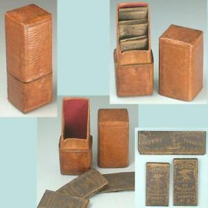Antique Leather Needle Packet Box * English * Circa 1840