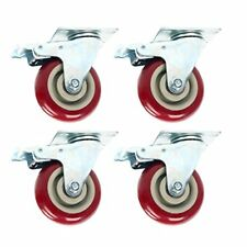 Heavy Duty 4 inch Swivel Plate Caster Red Polyurethane Wheels - Pack of 4 (4')