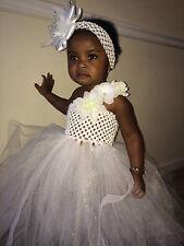 WHITE BEAUTIFUL Pageant dresses wedding tutu dress birthday dressy size 0M-5T