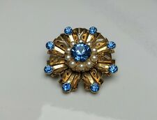 Lovely Vintage Faux Blue topaz  Pearl Round shape Brooch by Coro Jewellery