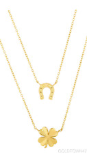 """14kt 17"""" Yellow Gold  4-Clover+Horse Shoe Double Row Necklace Anchored to Chain"""