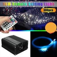 Remote 16W RGBW LED Ceiling Light Fiber Optic Star Kit+300Pcs 200cm 0.75mm Cable