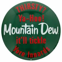 Mountain Dew Button Tin Sign 14 x 14in