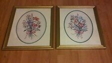 2 Vintage Home Interiors Kay Lamb Shannon FLOWERS Framed Matted oval Pictures