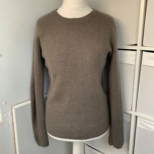 AllSaints Grey Green 100% Cashmere Jumper Size 10 Soft Waffle Knit Relaxed Fit