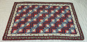 Vintage Patchwork Quilt, Log Cabin, Floral Calicos, Checks, Red, Blue, White